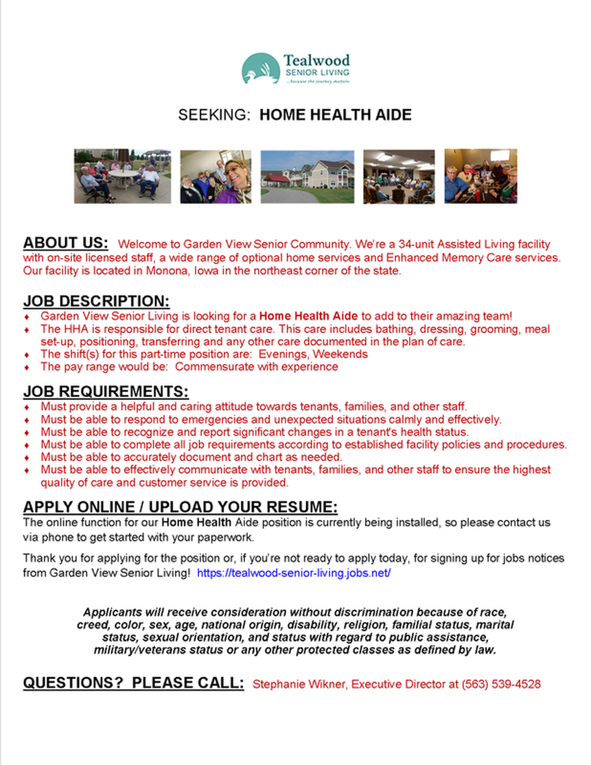 garden view sr community home health aide monona chamber